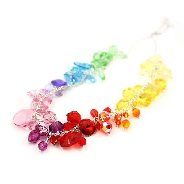 Rainbow necklace. Swarovski crystals and silver. Colourful. Diuu