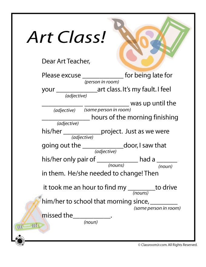 """mad libs, adapt for far-copy - print 2 copies and give student 1 w/ prompts (""""adjective"""") whited out, write prompts larger on 2nd copy and hang on wall; student must look back and forth to find prompts and fill in blanks"""