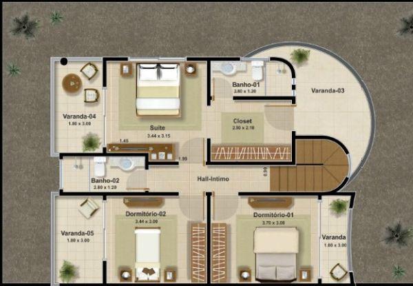Plano de casa moderna de 161 m2 y de 2 plantas