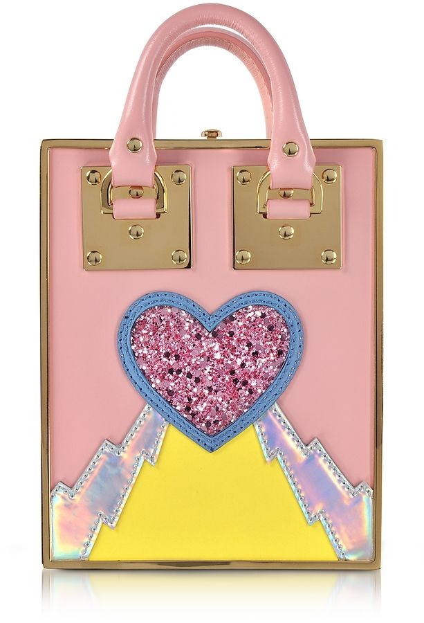 Sophie Hulme Pink Multi Leather and Gold Metal Compton Mini Tote w/Chain Strap