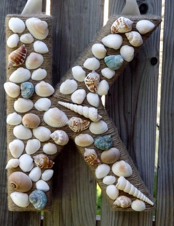 Monogram Wreath Summertime Seashells Nautical by TheEducatedOwl, on Etsy