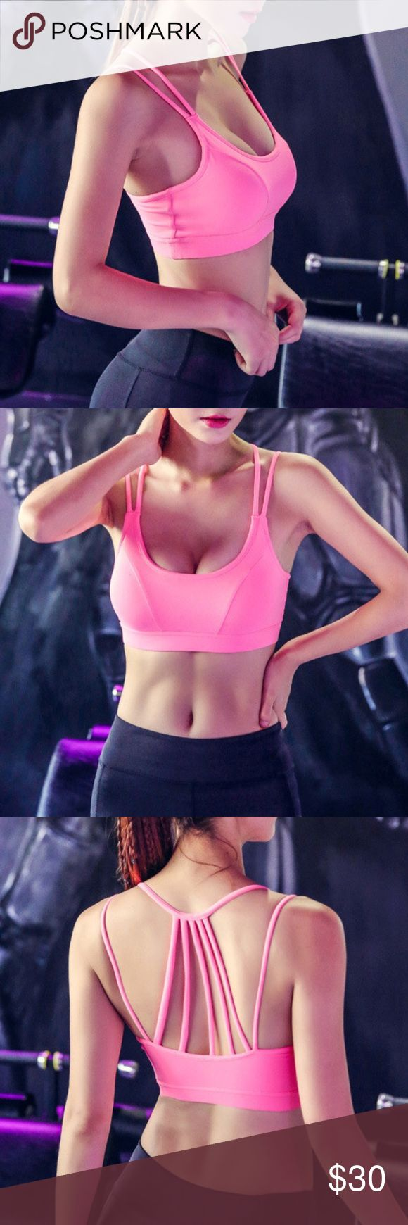 """PINK Workout Sports Bra light/medium support, feminine design, nylon/spandex blend, this listing is for the color pink. Blue, aqua, and black are available in another listing  🐇RESERVE out of stock sizes by purchasing any """"arriving🔜"""" option & it will automatically ship to you when its restocked. 🐢If you choose not to reserve, please be patient, priority stock goes to reserves first, then what is left will reflect in my closet Tops"""