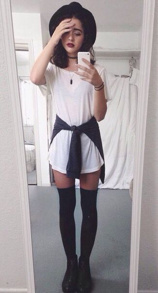 SOFT GRUNGE white tee dress, pullover, black thigh high socks, black booties, black floppy…