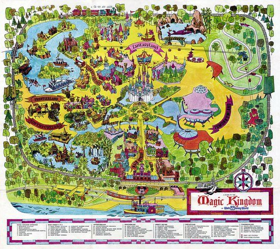 picture relating to Printable Magic Kingdom Maps titled Classic Disney Planet Map 1971 Good Artwork Paper Print, or