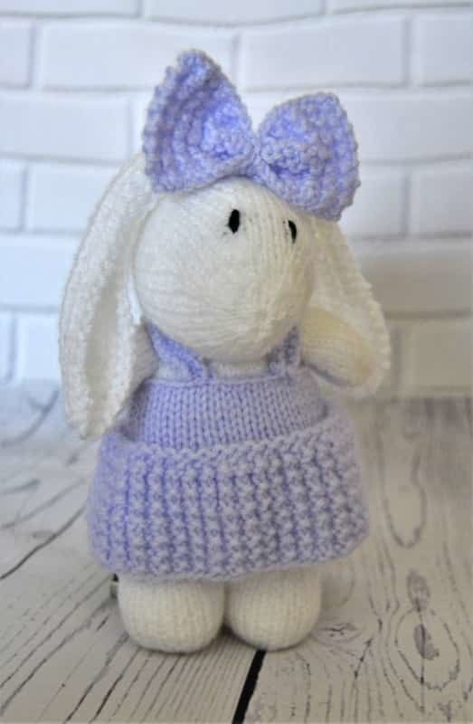 Knitting pattern instructions to knit a cute little bunny soft toy. Great  for bo… 194fba1d4eef