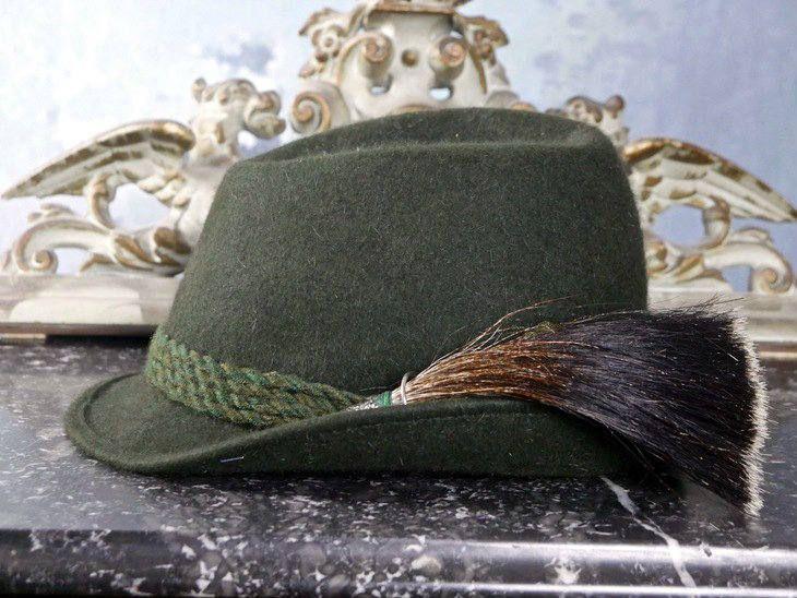 Trachten Alpine Hat, Austrian Vintage Men's Green Wool Fedora w Pewter Horn and Wild Boar Hair Plume, Octoberfest Hat: Medium (7 1/4 US) by YouLookAmazing on Etsy