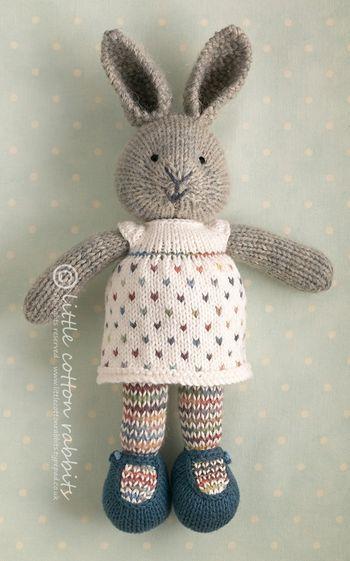 little cotton rabbit - rainbow bunny toy knitted