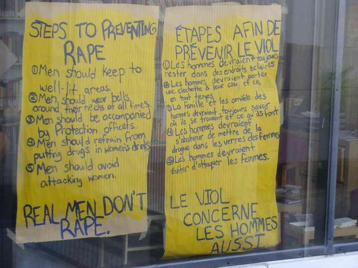 According to The Fulcrum, a student publication at the University of Ottawa, this poster hung for years on a window at the Women's Resource Center. This poster informs University of Ottawa students that appropriate steps to preventing rape are to make sure male students are confined only to well-lit areas of the campus, that they should wear bells around their necks at all times, and that they be accompanied by police wherever they go. #men #boys #education #sexism #misandry #equality #rape