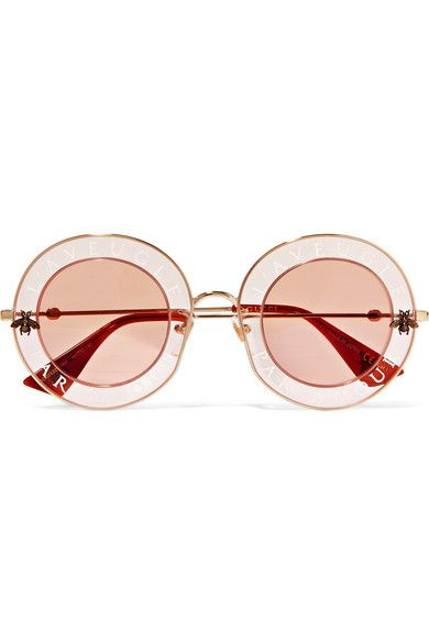 6955938150ba4 GUCCI Round-frame printed acetate and gold-tone sunglasses.  gucci ...