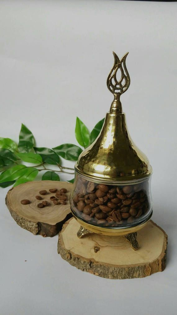Gold coffee box sugar bowl with tuliplidded glass jar.