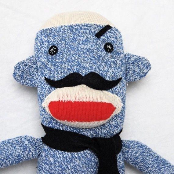 Mischievous Mustache Monkey by FriendsOfSocktopus on Etsy: Mustache Plush, Mustache Monkey, Mustache Socks, Mischiev Mustache, Socks Monkey, Men Mischiev, Monkey Plush, Plush Toys, Plush Socks