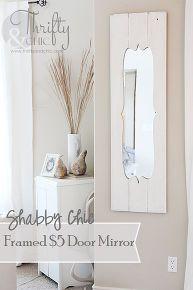 turn a cheap door mirror into a shabby chic dream, diy, home decor, shabby chic, Shabby chic framed 5 door mirror