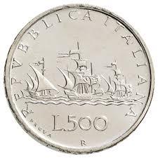 """Repubblica Italiana. 500 lire 1957 Caravelle con vele contro vento. Sul bordo la scritta """"PROVA"""""""