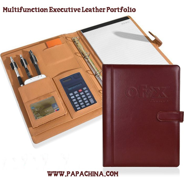 A Multifunction Executive Leather Portfolio will have a positive impact on your residual marketing. Constructed of polyurethane (PU) leather, it is not only an ideal marketing tool for your initial campaign, but its durability will ensure your brand will remain with the prospect for a long time. www.papachina.com