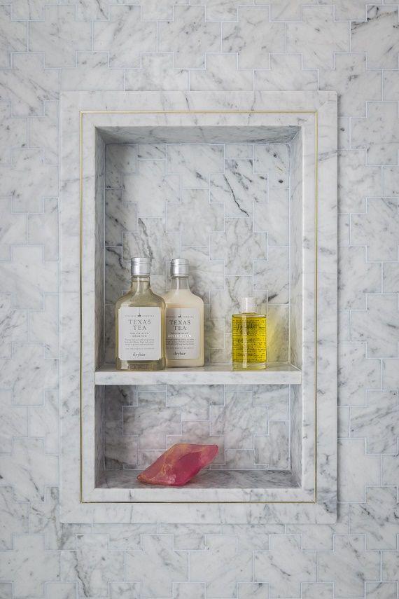 marble shower niche