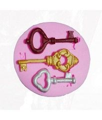 Yunko Three Keys Soft Silicone Fondant Cake Decorating Mould Chocolate Candy Sugar Mold