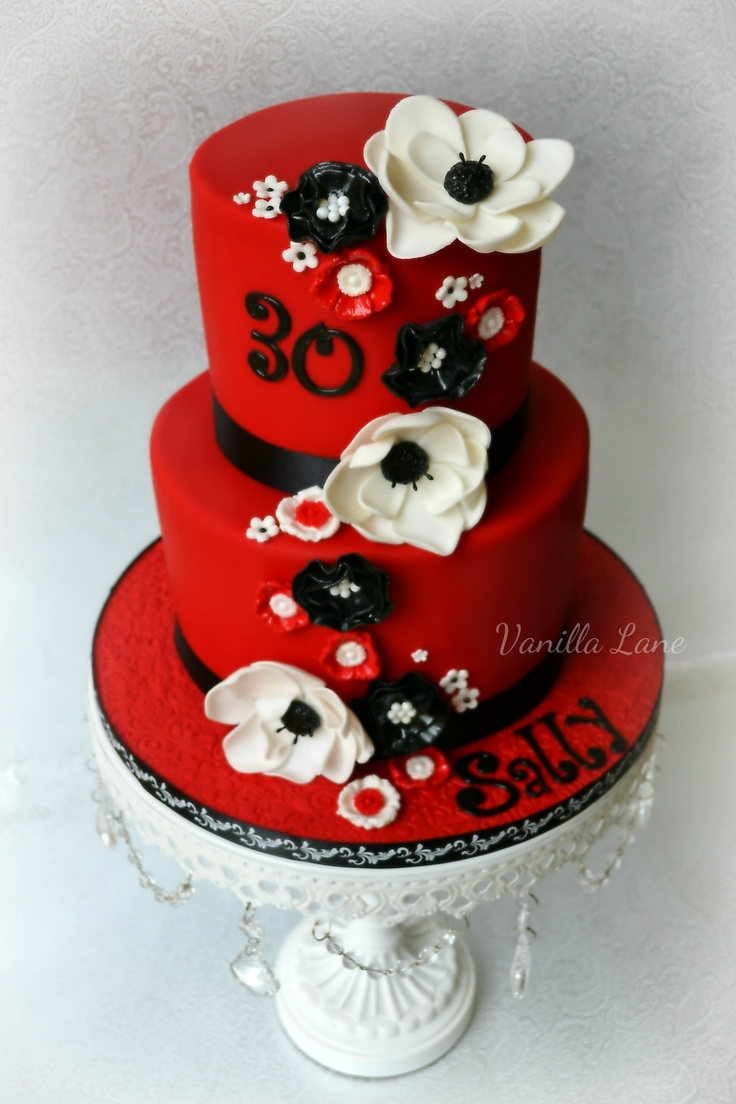 Red Black Minnie Mouse Cake