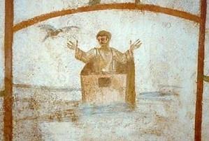 Noé en el arca, imagen conceptual, donde el arca convertido en un cajón del que surge Noé y la paloma le anuncia el fin del diluvio, es la esperanza de la salvación.El arca es la prefiguración de la Iglesia en Nuevo Testamento