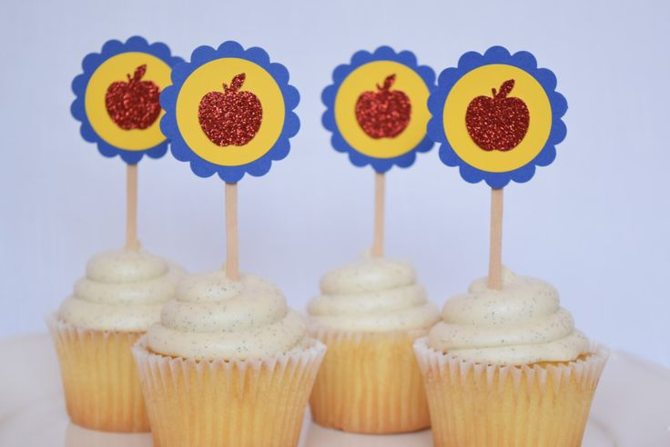 Snow White Red Apple Birthday Party Cupcake Toppers, Set of 12 by ImagineCelebrations on Etsy https://www.etsy.com/listing/235254931/snow-white-red-apple-birthday-party