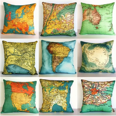 Vintage Maps: Decor, Ideas, Maps Cushions, Maps Pillows, World Maps, House, Places, Throw Pillows, Mappillow