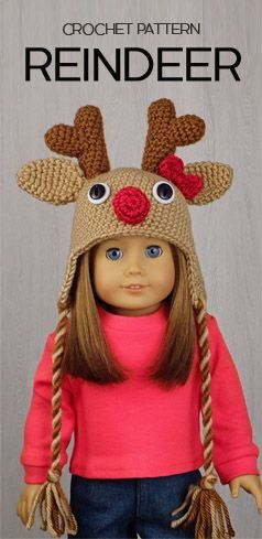 """REINDEER HAT for AMERICAN GIRL DOLLS ❤️ Crochet pattern in the book """"Amigurumi Holiday Hats for 18-Inch Dolls"""" by Linda Wright. Book available at Amazon.com. This is an easy-level crochet pattern and one of the six Christmas Hat patterns that are included in this book. The Santa Hat will fit American Girl and any 18-Inch dolls with a similar 12-inch head circumference."""