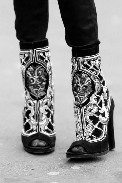 Paris Fashion Week - Street Style, Fall 2014 gorgeous embroidered boots luxe rocker luxe boho