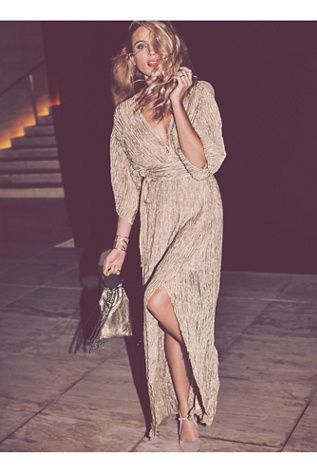 Crinkle Silk Wrap Dress | Ethereal sheer crinkly silk maxi wrap dress featuring a statement sleeve.