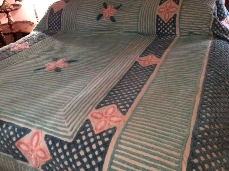 gorgeous vintage chenille bedspread full size - Chenille Bedspreads