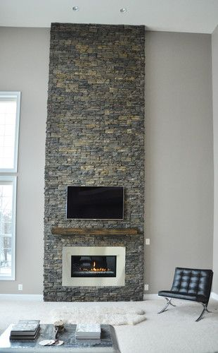 Modern Country Rustic Stone Fireplace Fireplaces Pinterest