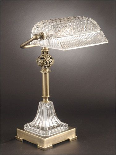 Dale Tiffany Novara Crystal And Brass Bankers Lamp