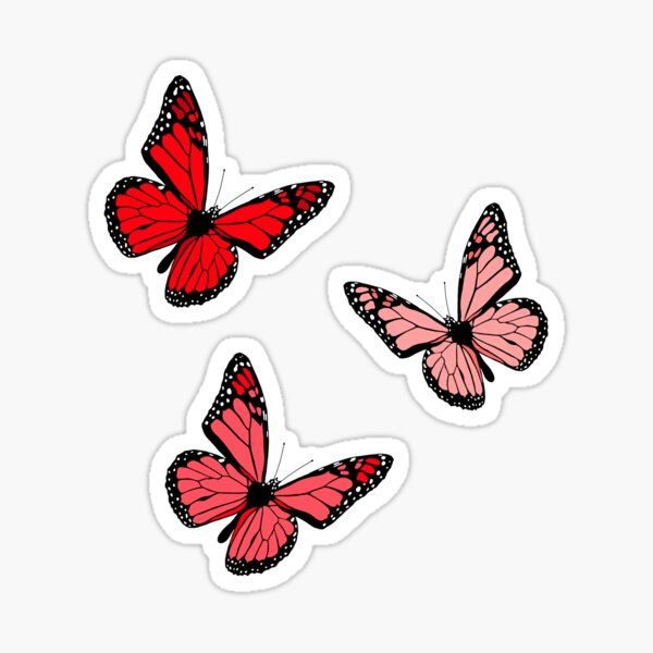 red background GOLD PEEL OFF STICKERS BUTTERFLIES butterfly