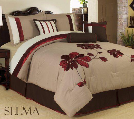 Amazon.com - Bednlinens 7 Piece Burgundy King Applique Mega Floral Bedding Comforter Set - King Size Comforter Set
