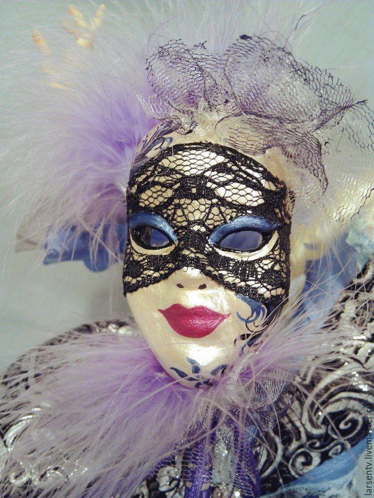 Купить Авторская кукла Венецианский карнавал - голубой, маска, маскарад, венецианская маска, венецианский карнавал