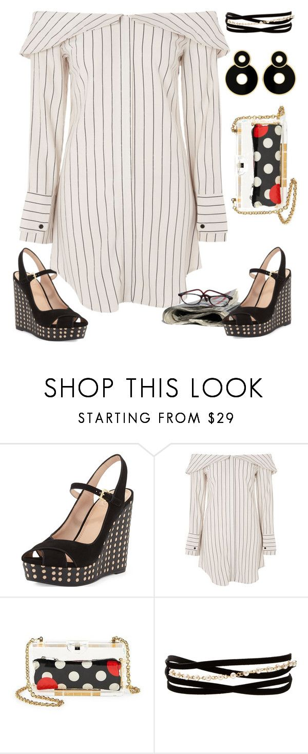 """""""Dots & Stripes"""" by petalp ❤ liked on Polyvore featuring Tory Burch, Topshop, RED Valentino, Kenneth Jay Lane and ootd"""