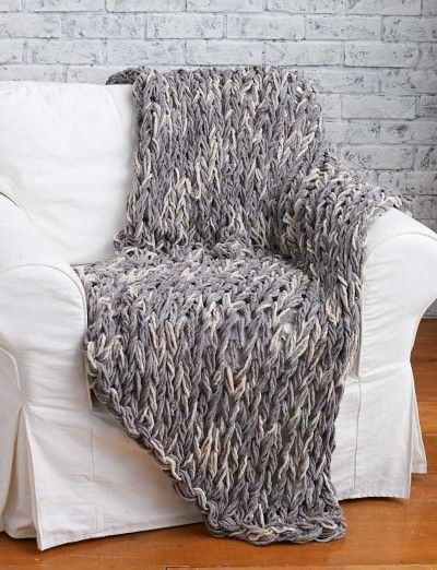 Arm Knit Blanket - FREE Pattern | Yarnspirations | Chunky Knit Blanket