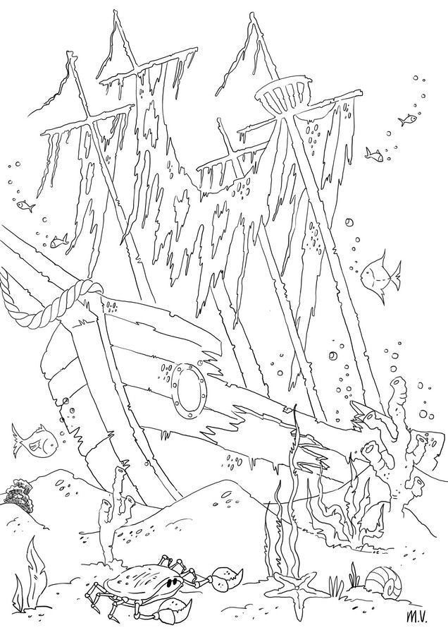 shipwreck coloring pages free