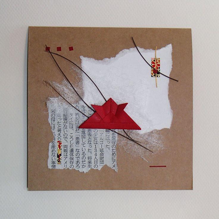 Origami and collage handmade cards and artwork 2 in1!  Frame it! Carte à encadrer/tableau fait à la main-Casque de samouraï en origami sur collage : Cartes par orijuju-shop