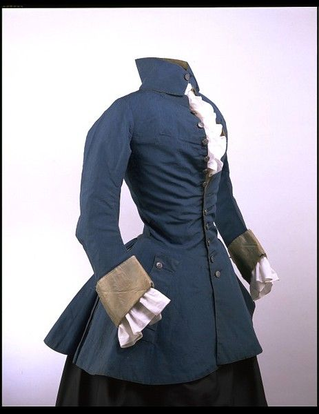 British riding habit: 1750-59: Women's riding outfits, known as 'riding habits', of the 18th century adapted elements of men's dress. This jacket of the 1750s is styled after a man's coat, although it has been modified with a waist seam to fit over stays and a wide petticoat.