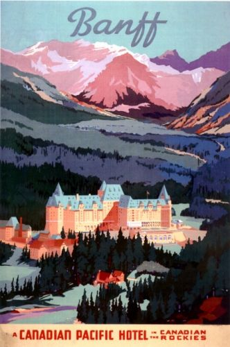 Vintage Canadian Pacific Hotel poster for the Banff Springs Hotel.