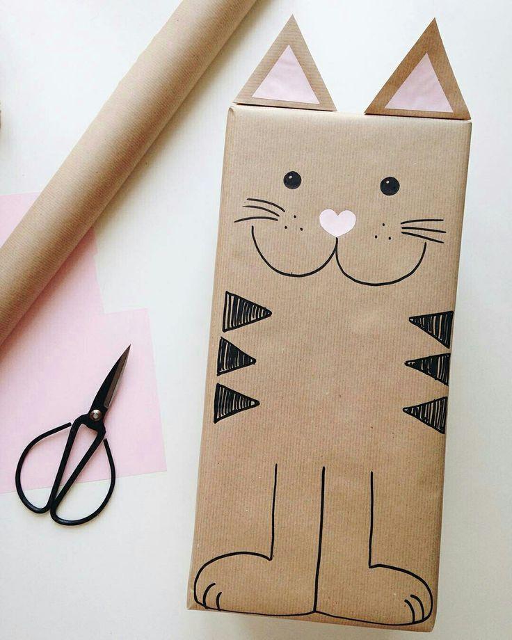 Mega süße Katzen Geschenkverpackung selber machen | Geschenkpapier ...