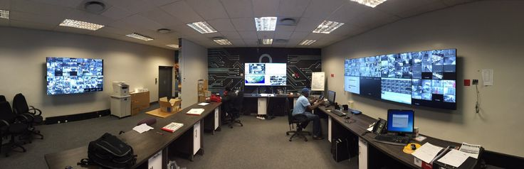 Surveillance Operations Centre with 3 videowalls, consisting of 16 x PVision LED Monitors connected to a PTN MMX1616 Modular Matrix Switcher and controlled via Kramer K-Touch Tablet