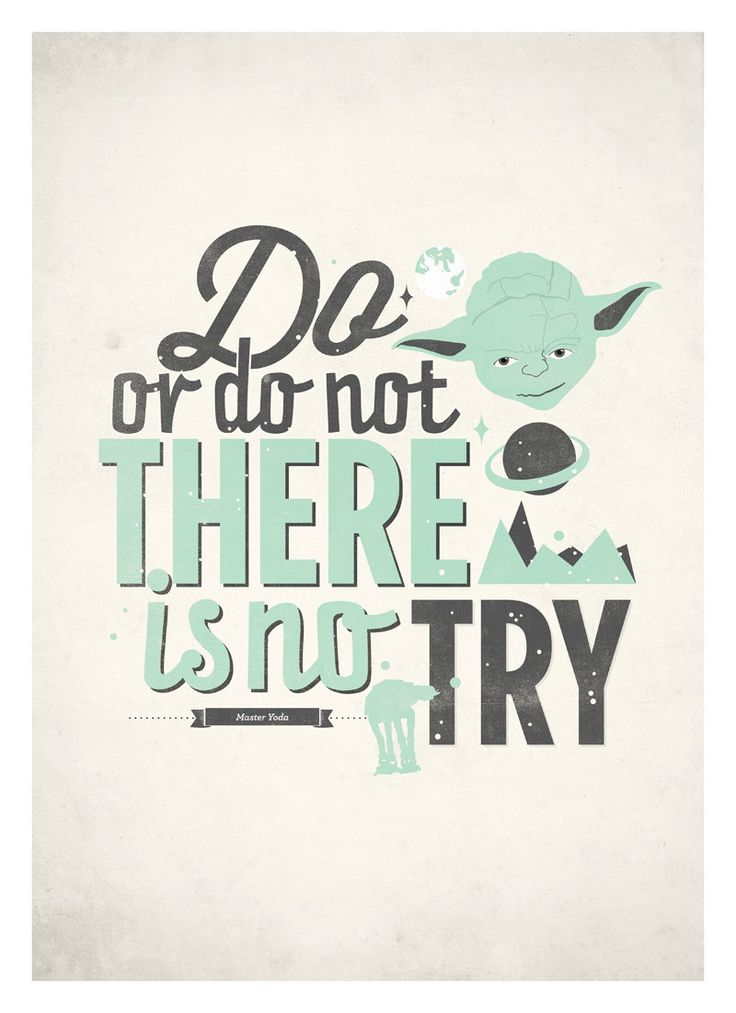Star Wars quote poster - Do or do not, there is no try - Retro-style typographic poster A3. $18.00, via Etsy.