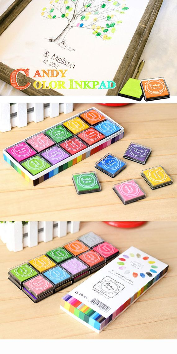 Candy 20 Colors Ink Pad Set (20 pcs) Korean Fingerprint Ink Pads Colorful Rainbow Colors I0038