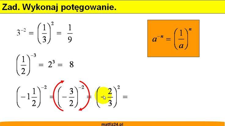 Potęga o wykładniku całkowitym ujemnym. http://matfiz24.pl/potegi/potega-wykladniku-calkowitym-ujemnym