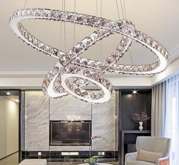 Circular Crystal Led Chandelier Lustre Cristal Lampes Salon