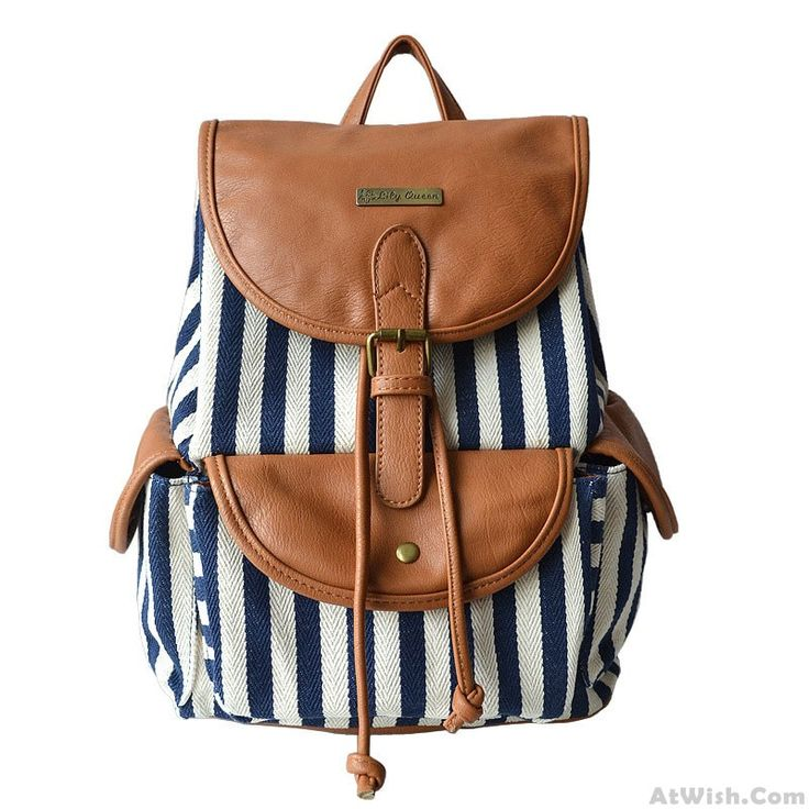 Wow~ Awesome Unique Navy Style Stripe Splicing Leather Backpack! It only $29.99…