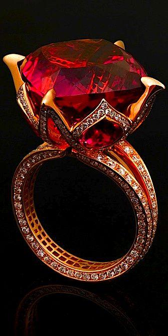 Jack du Rose pink tourmaline lotus ring with 24.33ct pink tourmaline, 3.12ct rubelite and 1.922ct diamonds set in rose gold