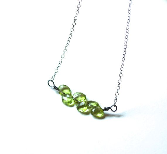 Peridot necklace August birthstone necklace Genuine by inBeads, $35.00
