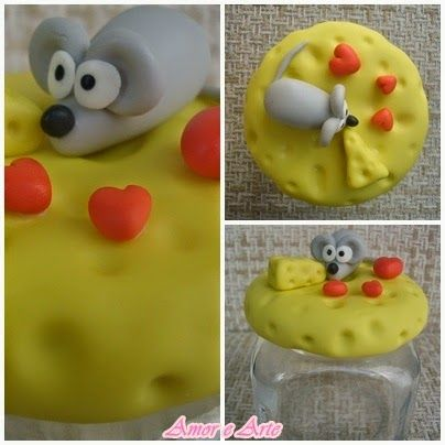 Vidro decorado em biscuit para queijo ralado, ratinho