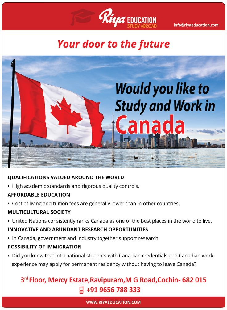 Would you like to study and work in Canada. Why wait? Get in touch with Riya Education and open your door to the future. Visit our website http://www.riyaeducation.com/contact/